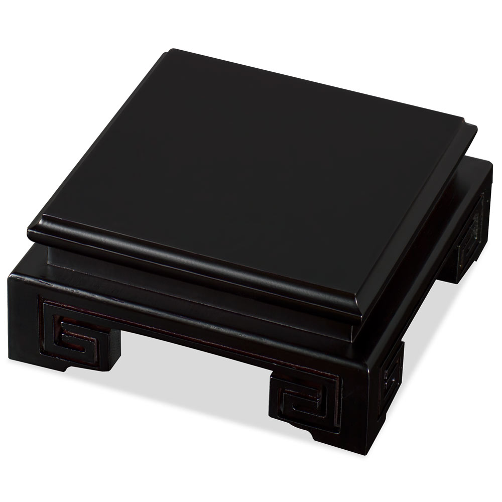 4in Black Wooden Square Stand