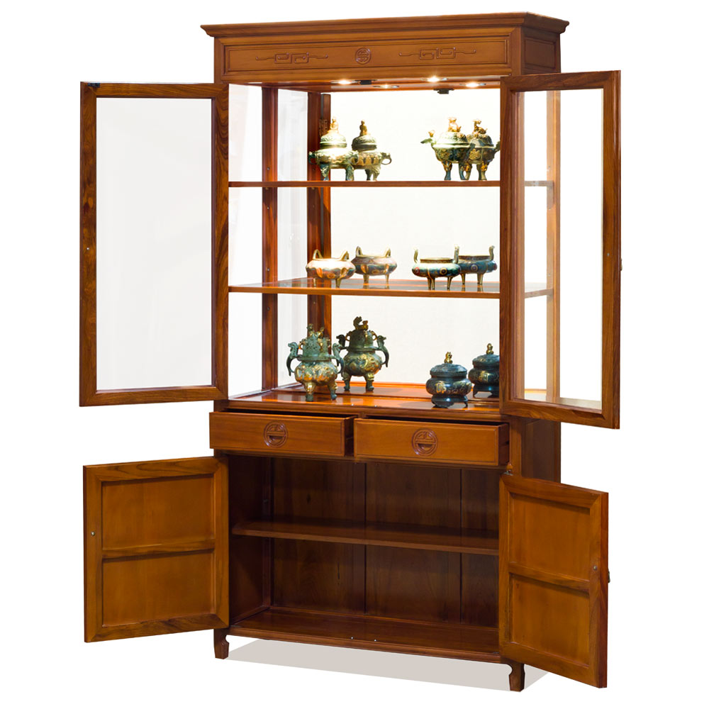 Natural Finish Rosewood Longevity Design Oriental China Cabinet