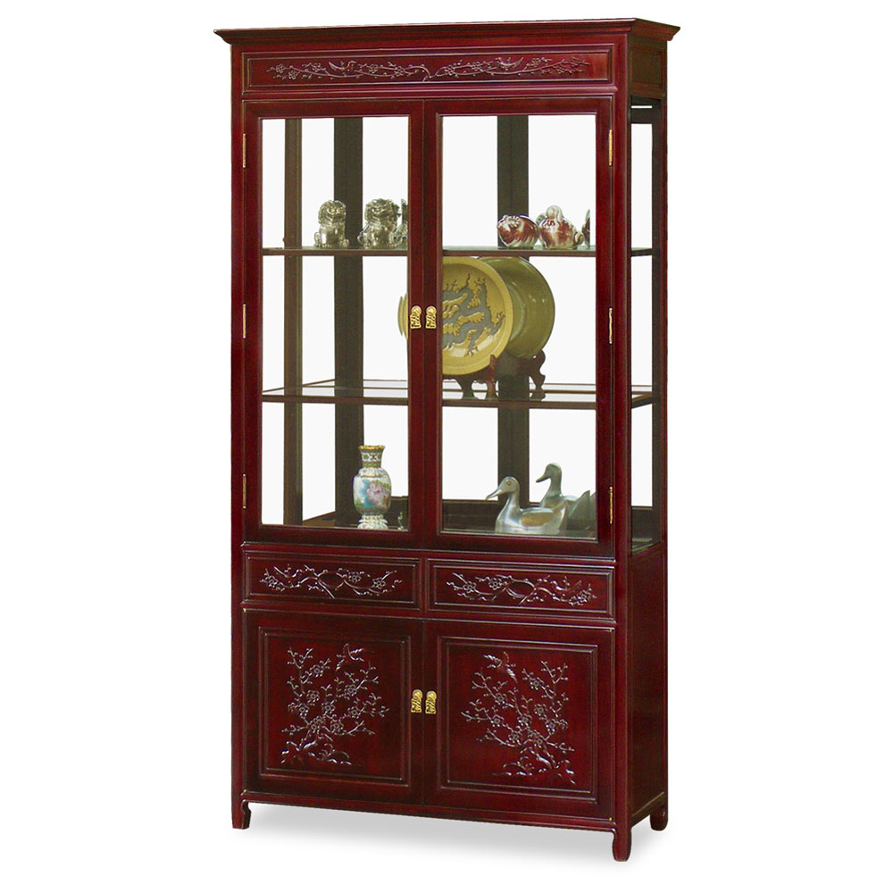 Dark Cherry Rosewood Flower and Bird Design Oriental China Cabinet