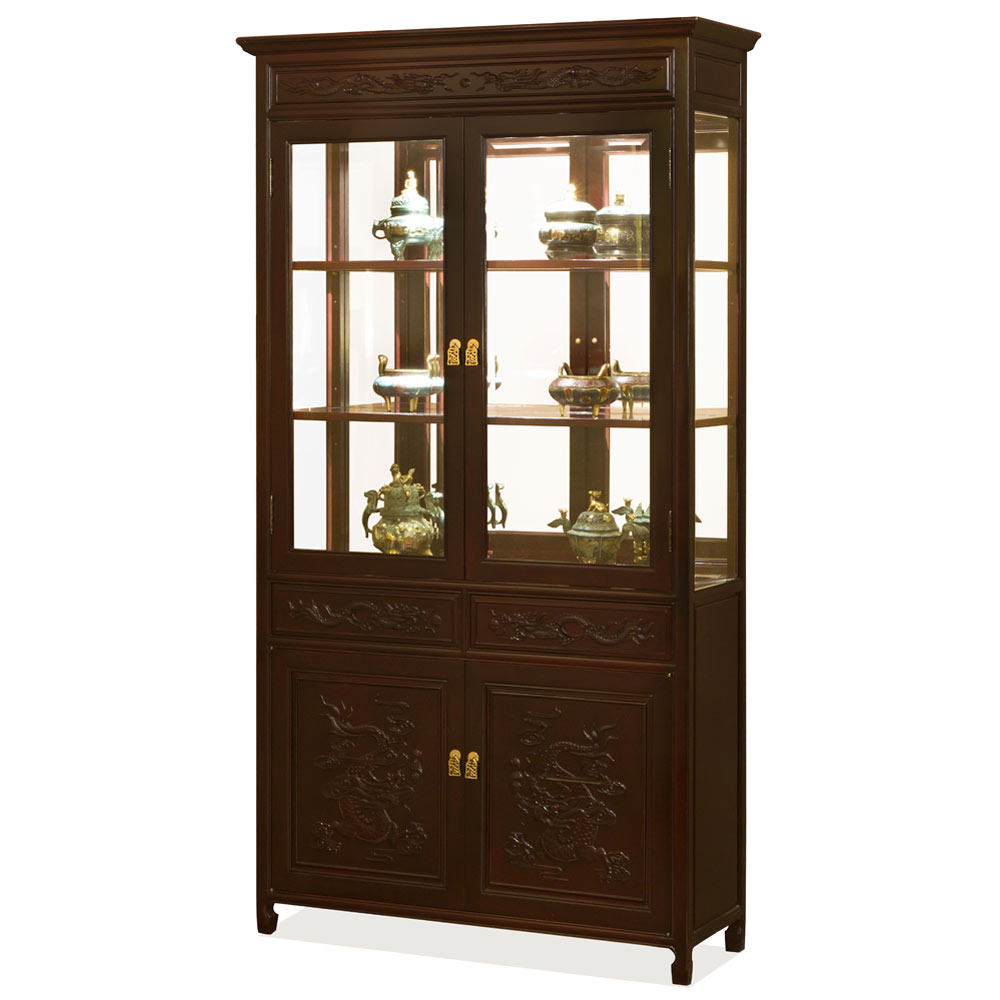 Dark Cherry Rosewood Prosperity Dragon Design Oriental China Cabinet