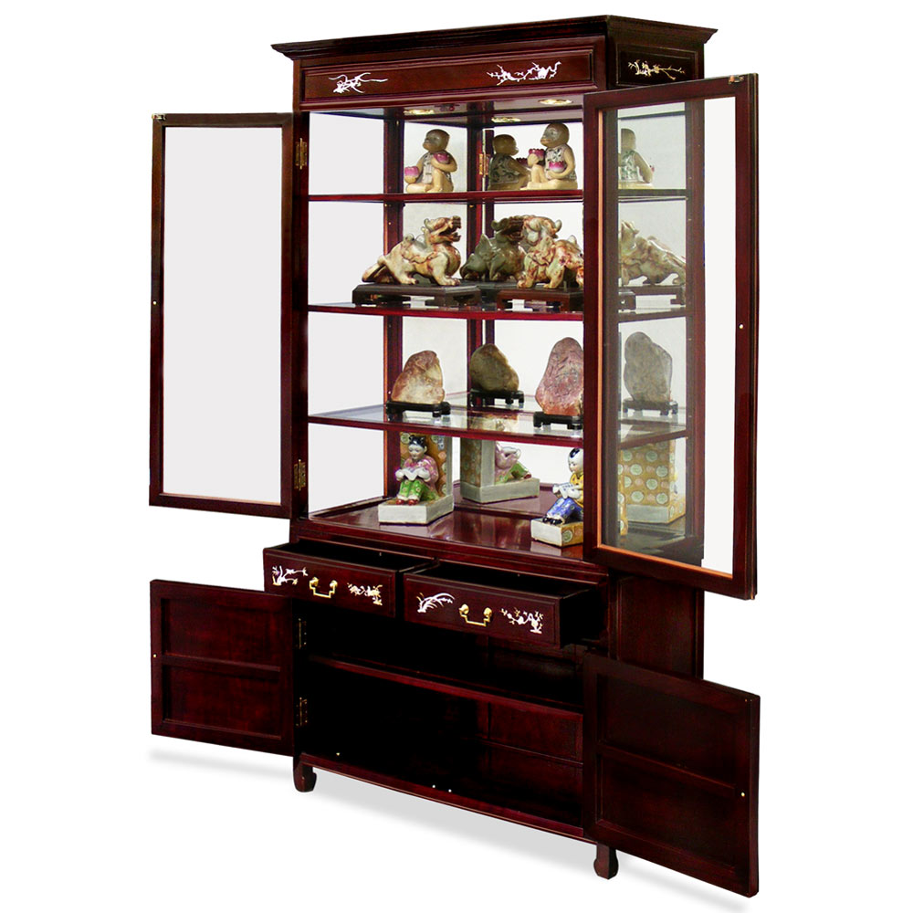 40in Rosewood Mother of Pearl Inlaid Curio Cabinet