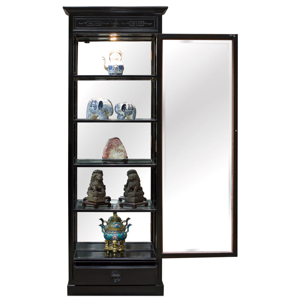 Black Rosewood Chinese Ming Design Curio Cabinet