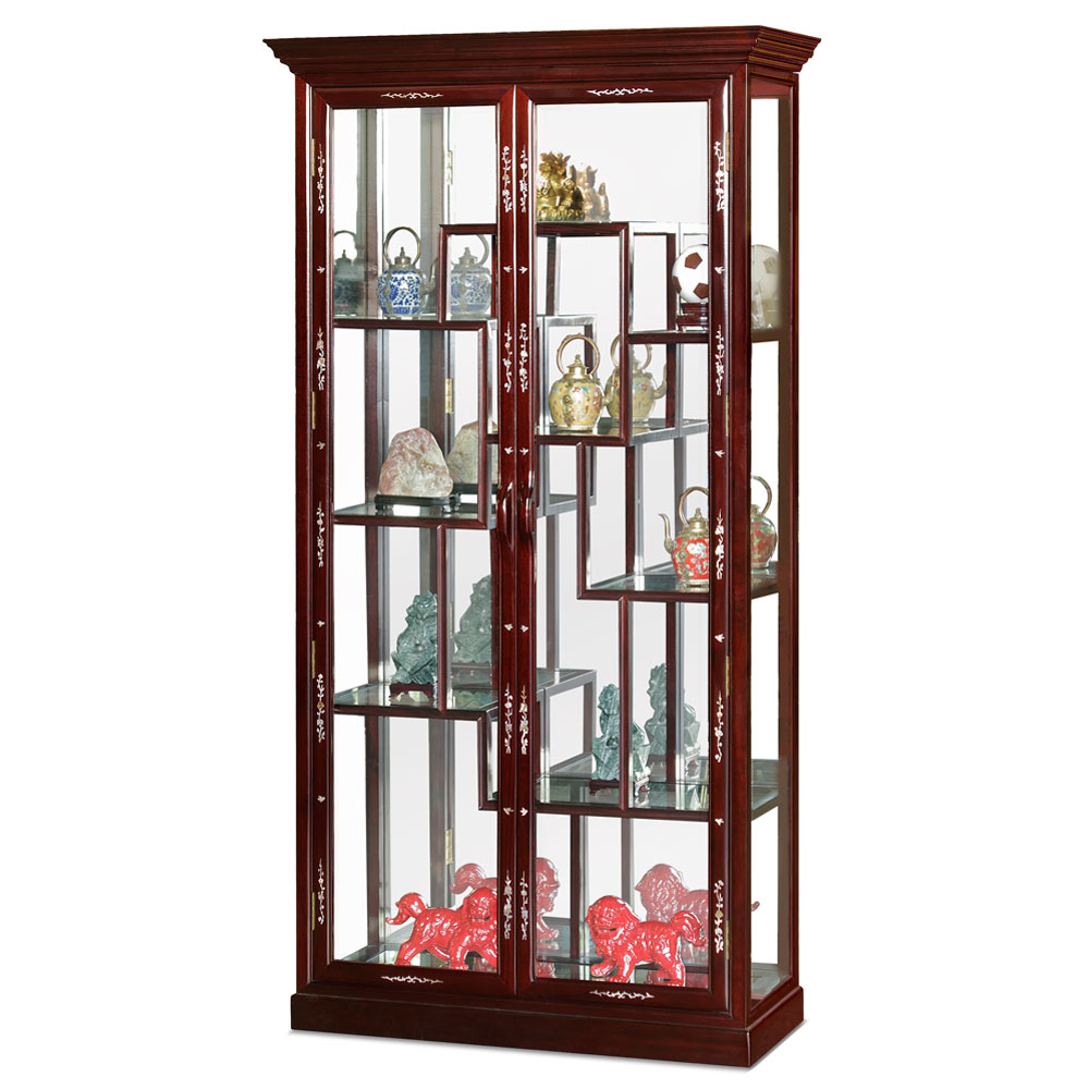 Dark Cherry Rosewood Mother of Pearl Inlay Curio Cabinet