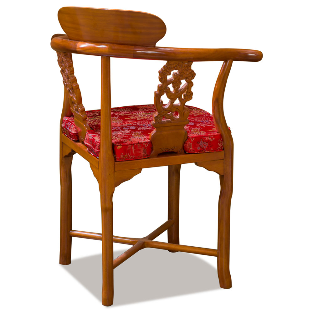 Natural Finish Rosewood Flower and Bird Oriental Corner Chair