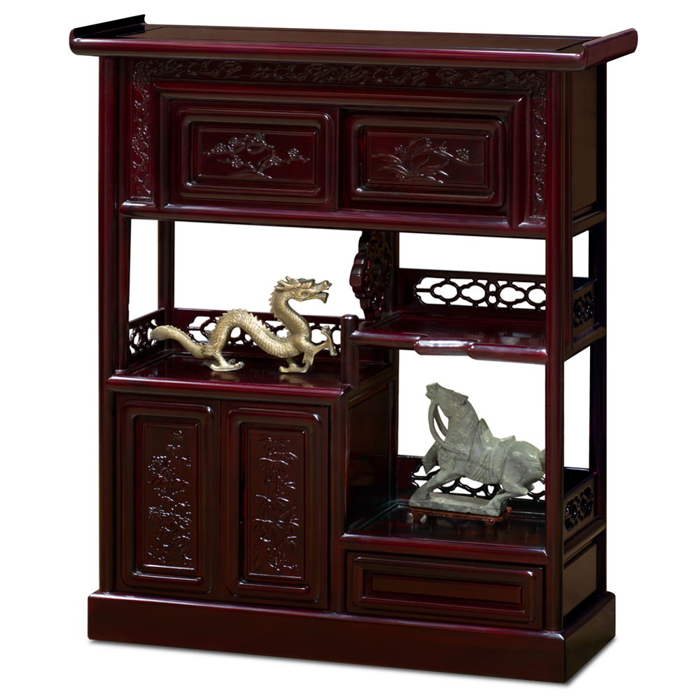 Dark Cherry Rosewood Altar Style Asian Bookcase