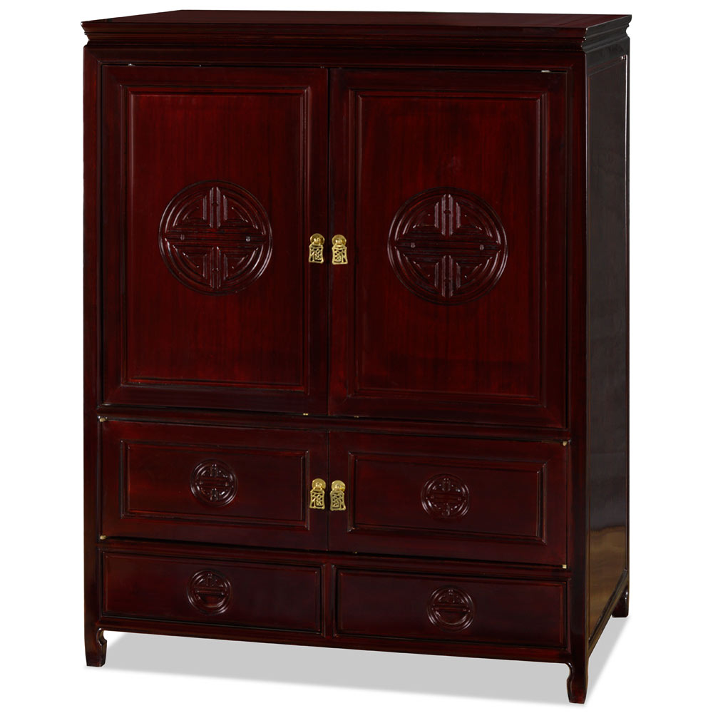 Dark Cherry Rosewood Longevity Motif TV Armoire