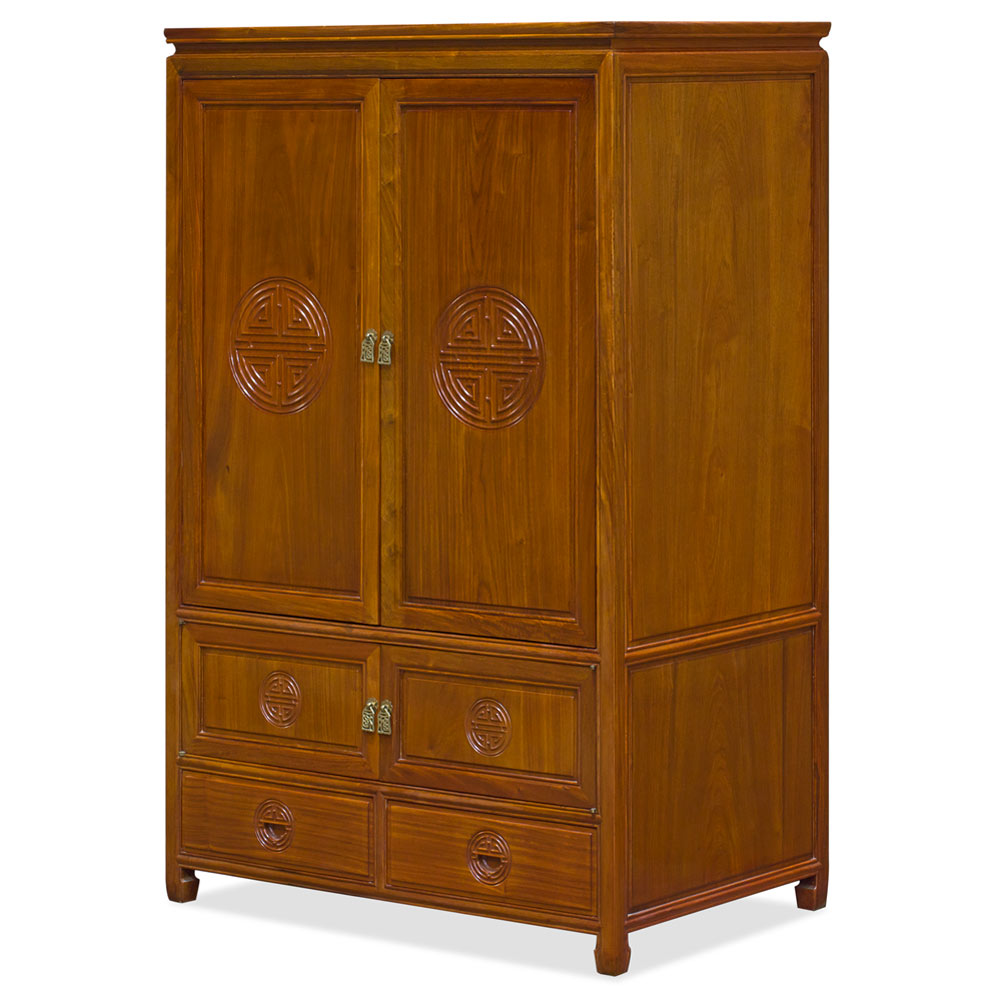 Natural Finish Rosewood Longevity Motif Asian TV Armoire
