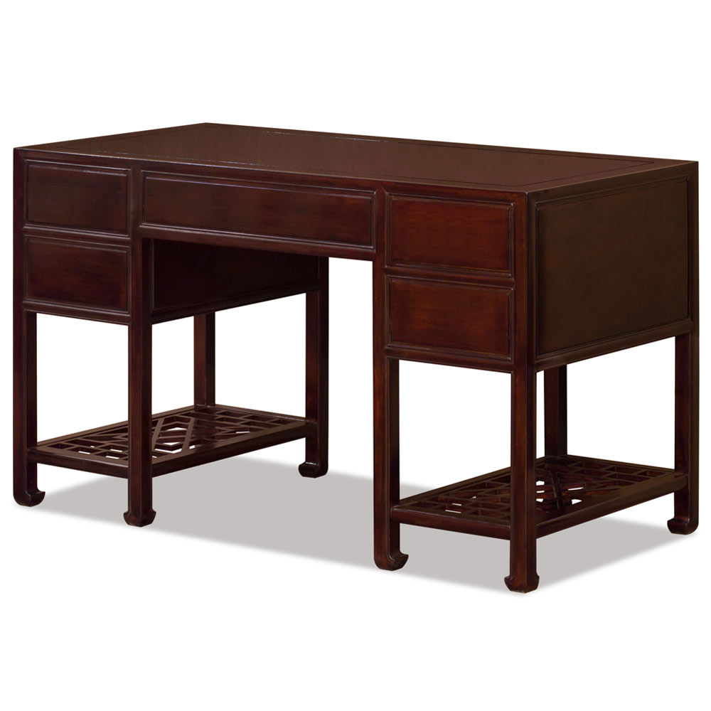Mahogany Rosewood Chinese Ming Desk with 5 Drawers