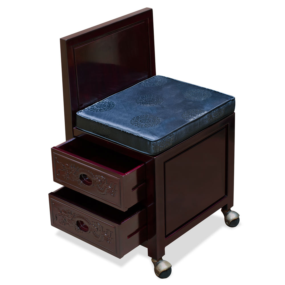 Dark Cherry Rosewood Prosperity Dragon Design Secretaire with Chair