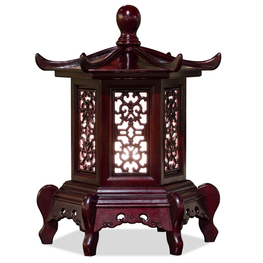 Dark Cherry Rosewood Chinese Pagoda Lamp