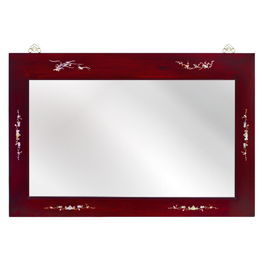 Dark Cherry Rosewood Mother of Pearl Inlay Ming Mirror