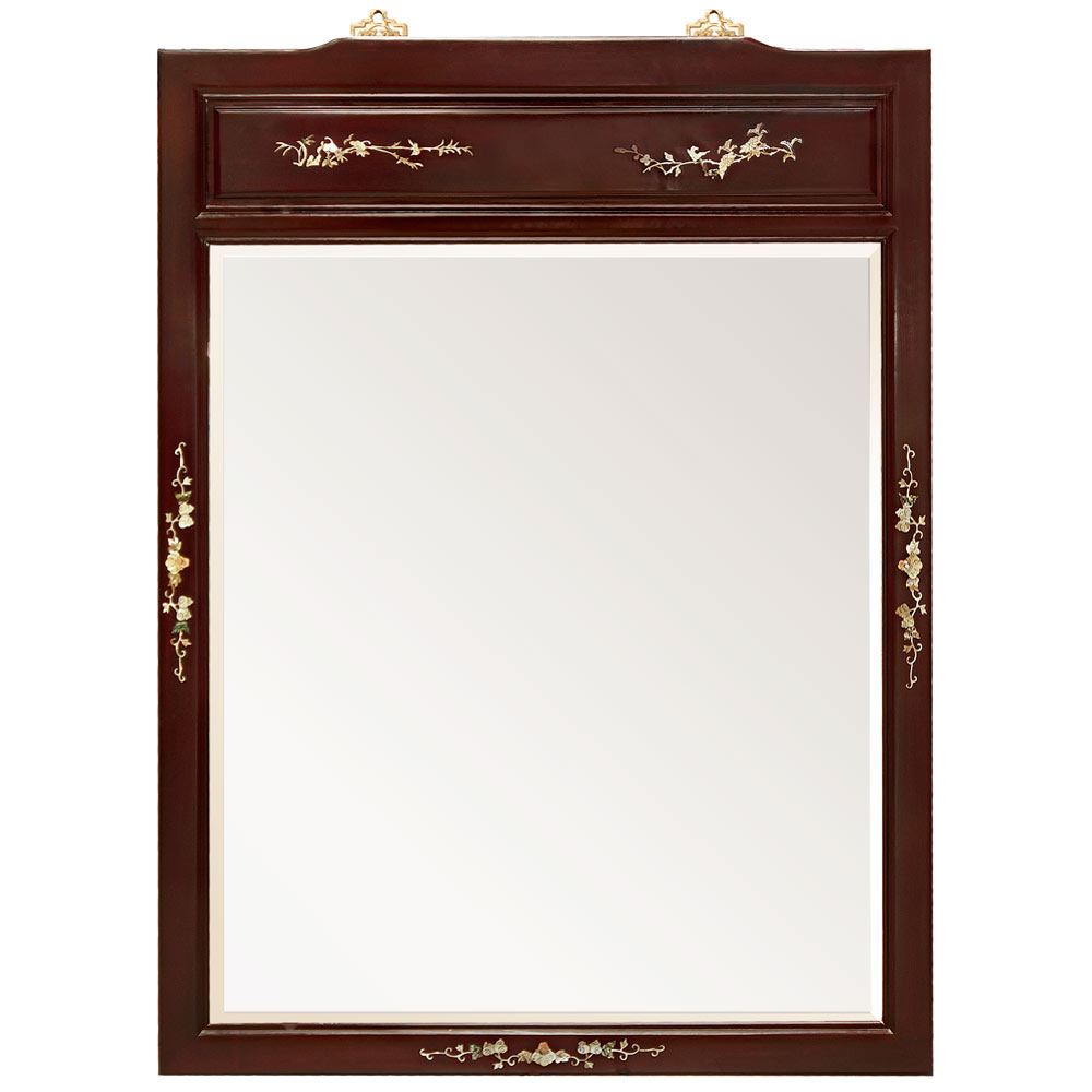 Rosewood Mother of Pearl Motif Mirror