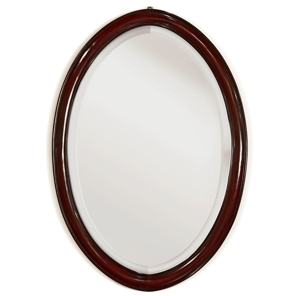 Dark Cherry Rosewood Ming Oval Mirror