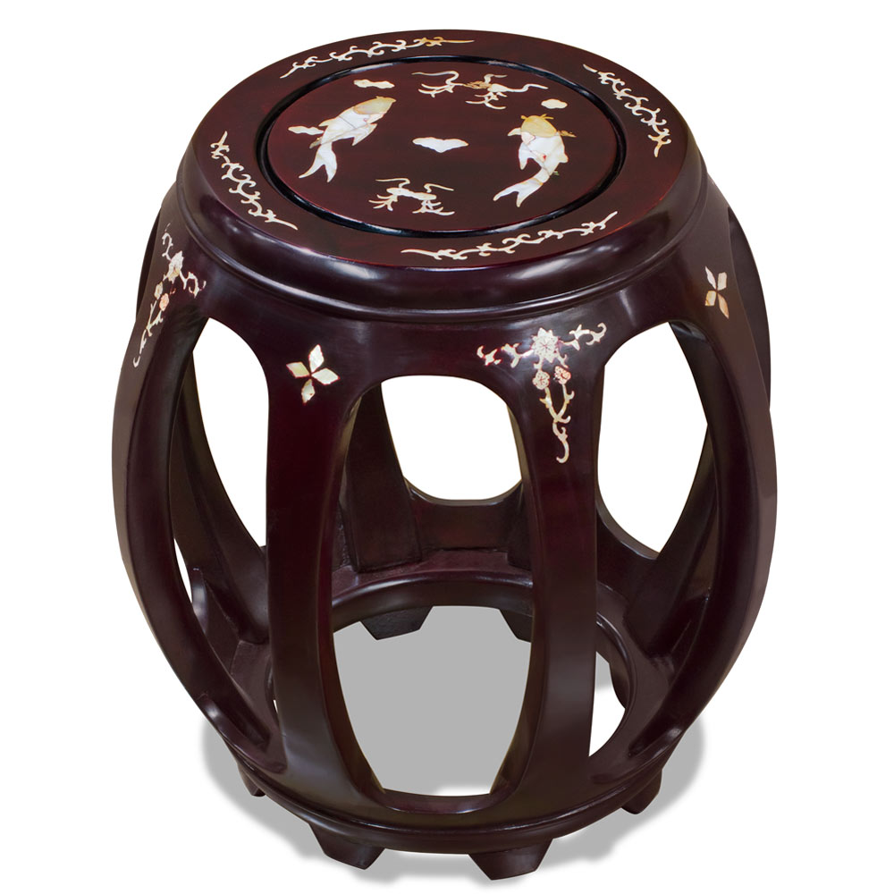 18in Rosewood Mother of Pearl Inlaid Stool