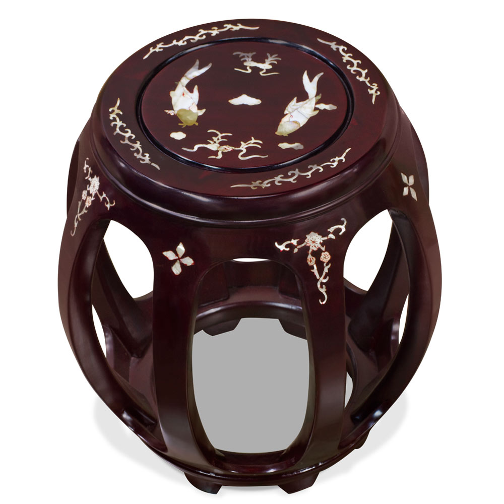 Dark Cherry Rosewood Mother of Pearl Inlay Asian Round Stool