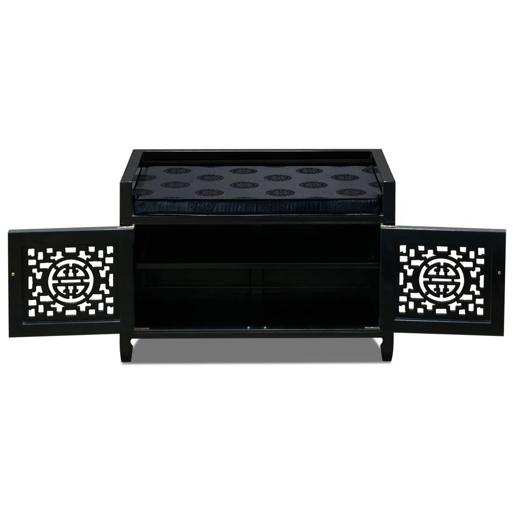 Black Rosewood Longevity Motif Chinese Shoe Bench