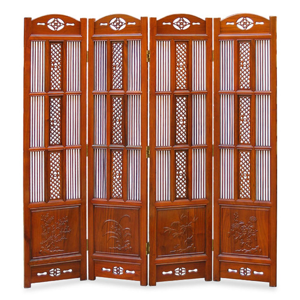 Rosewood Four-Season Intaglio Screen