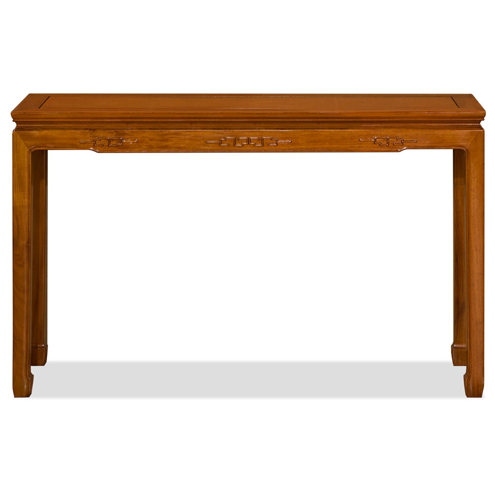 Natural Finish Rosewood Chinese Key Motif Console Table