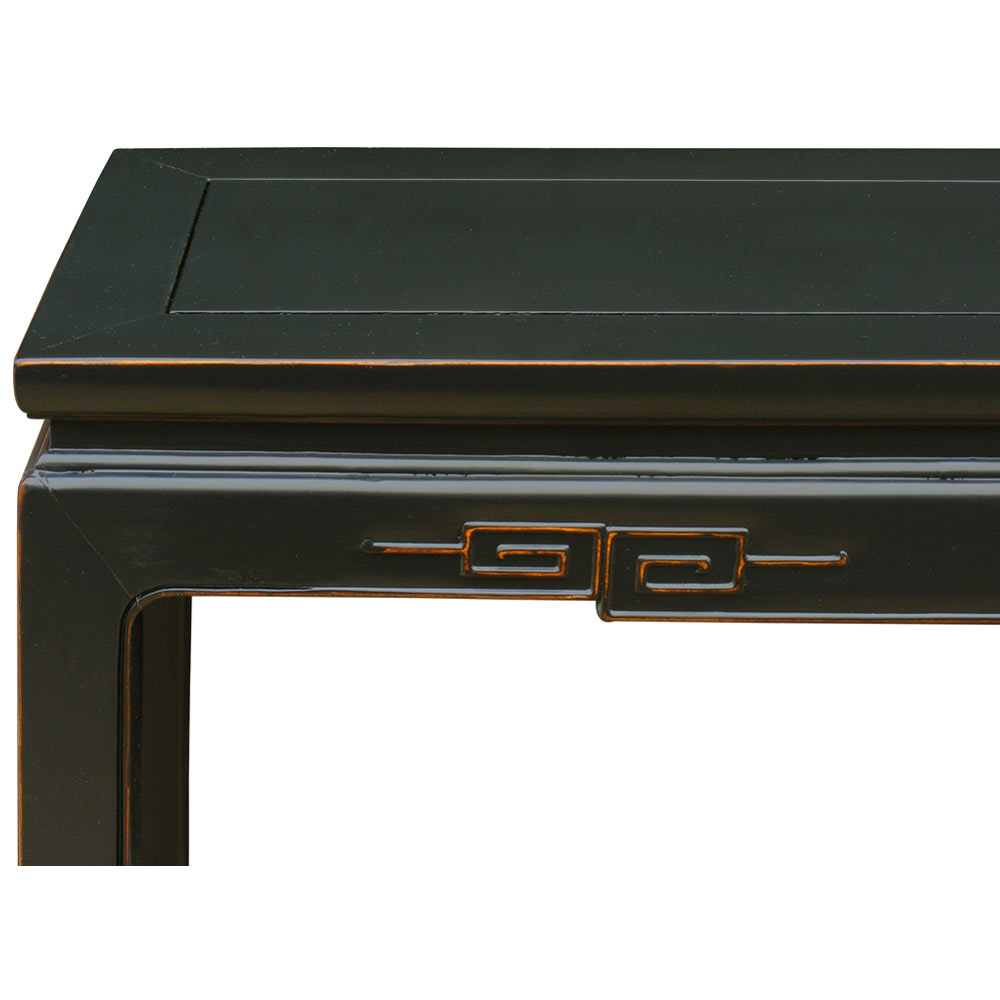 Distressed Black Elmwood Chinese Key Motif Console Table