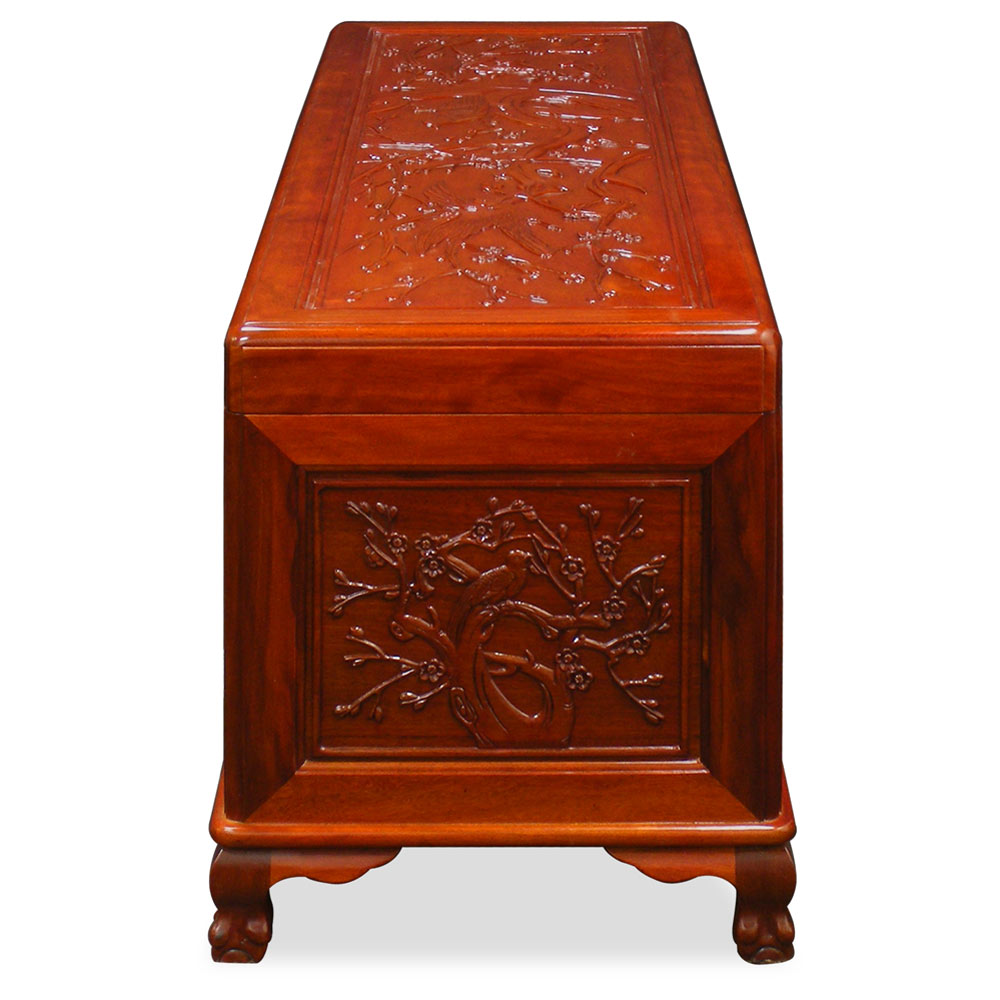 Rosewood Flower and Birds Motif Trunk