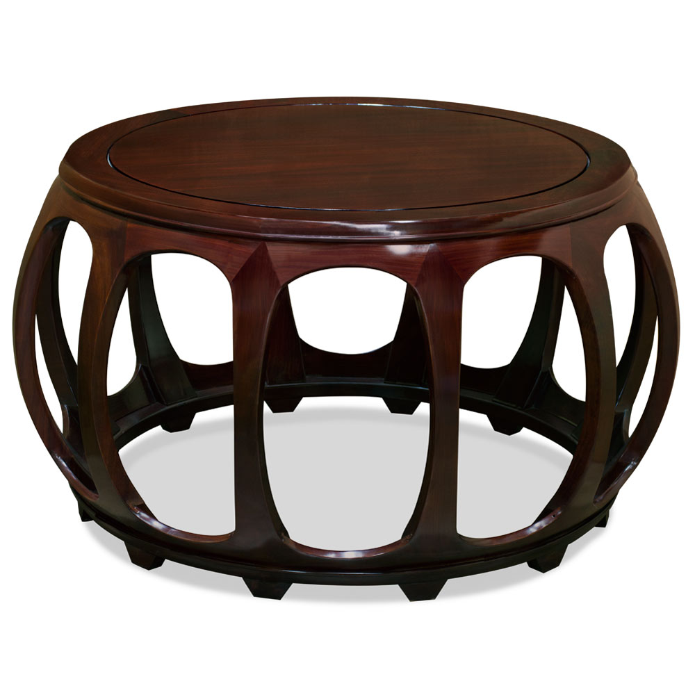 Chinese Drum Coffee Table: 36in Rosewood Round Drum Tea Table
