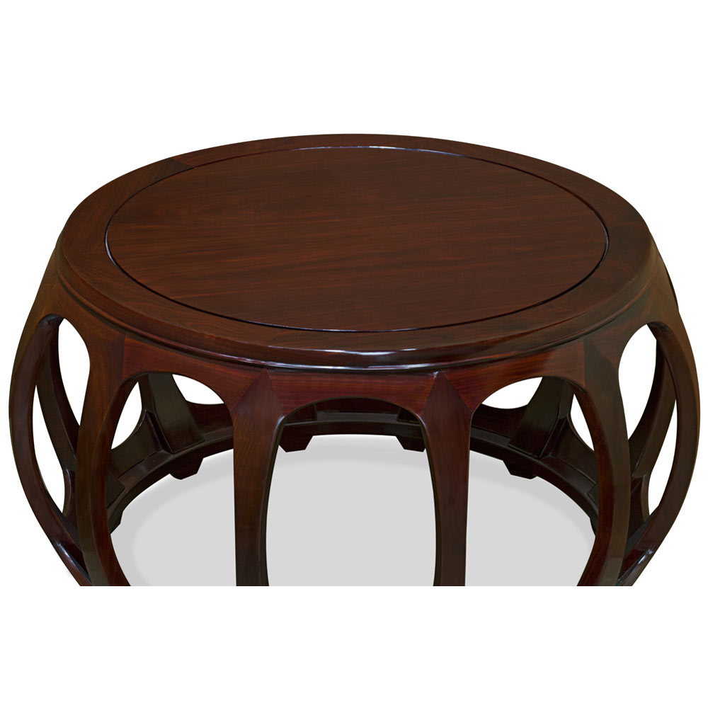 Mahogany Finish Rosewood Round Drum Asian Tea Table