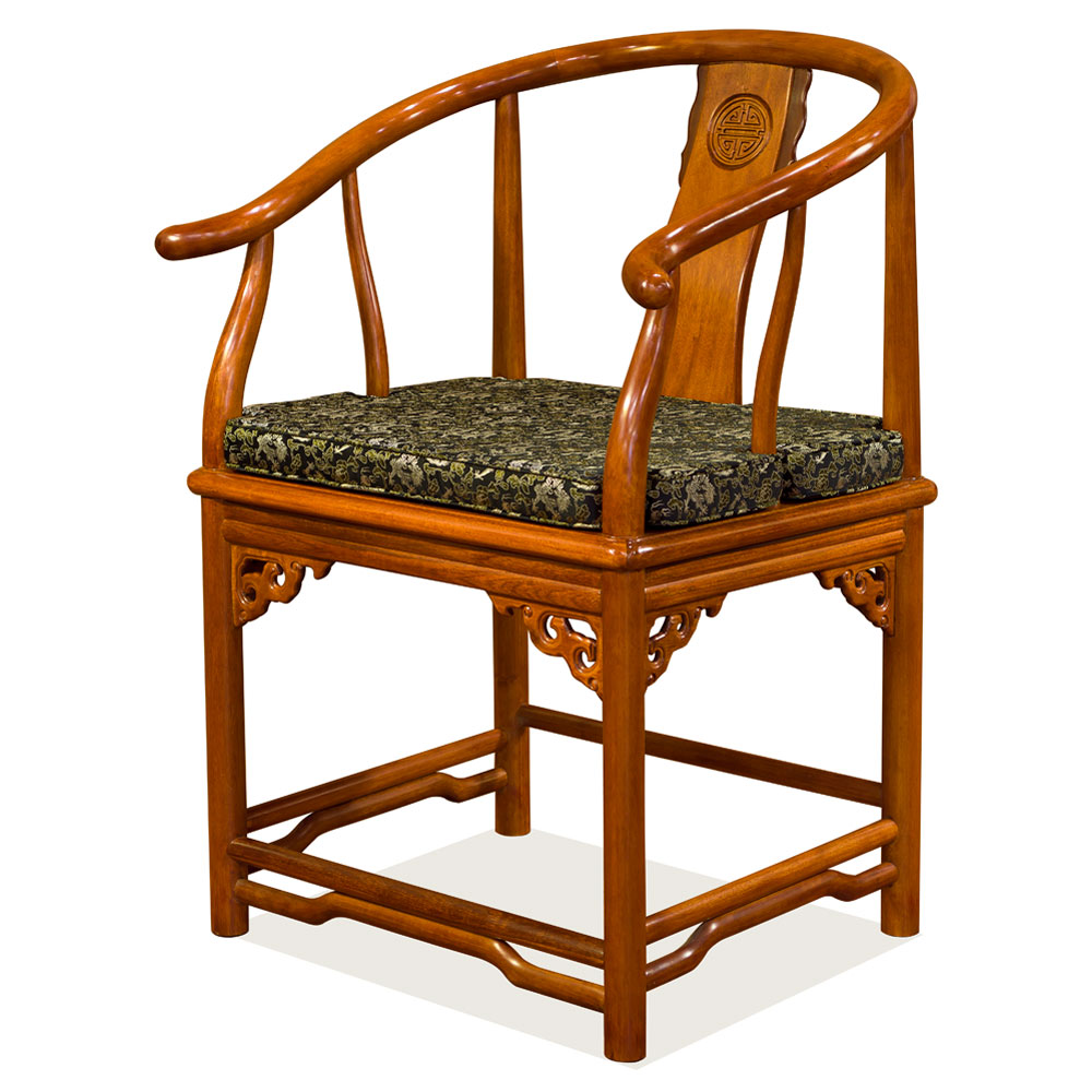 Natural Finish Rosewood Ming Style Arm Chair