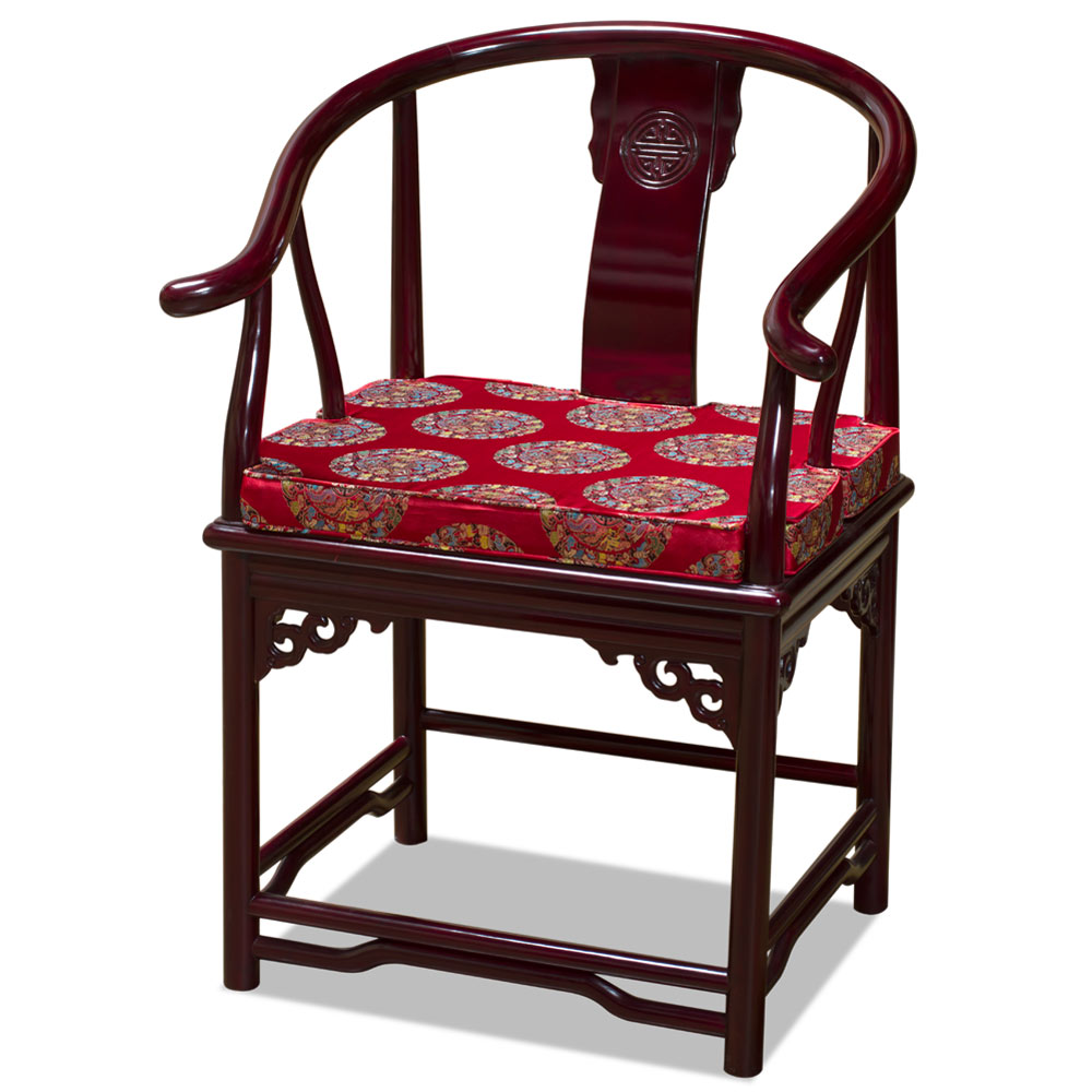 Dark Cherry Rosewood Ming Style Chinese Arm Chair