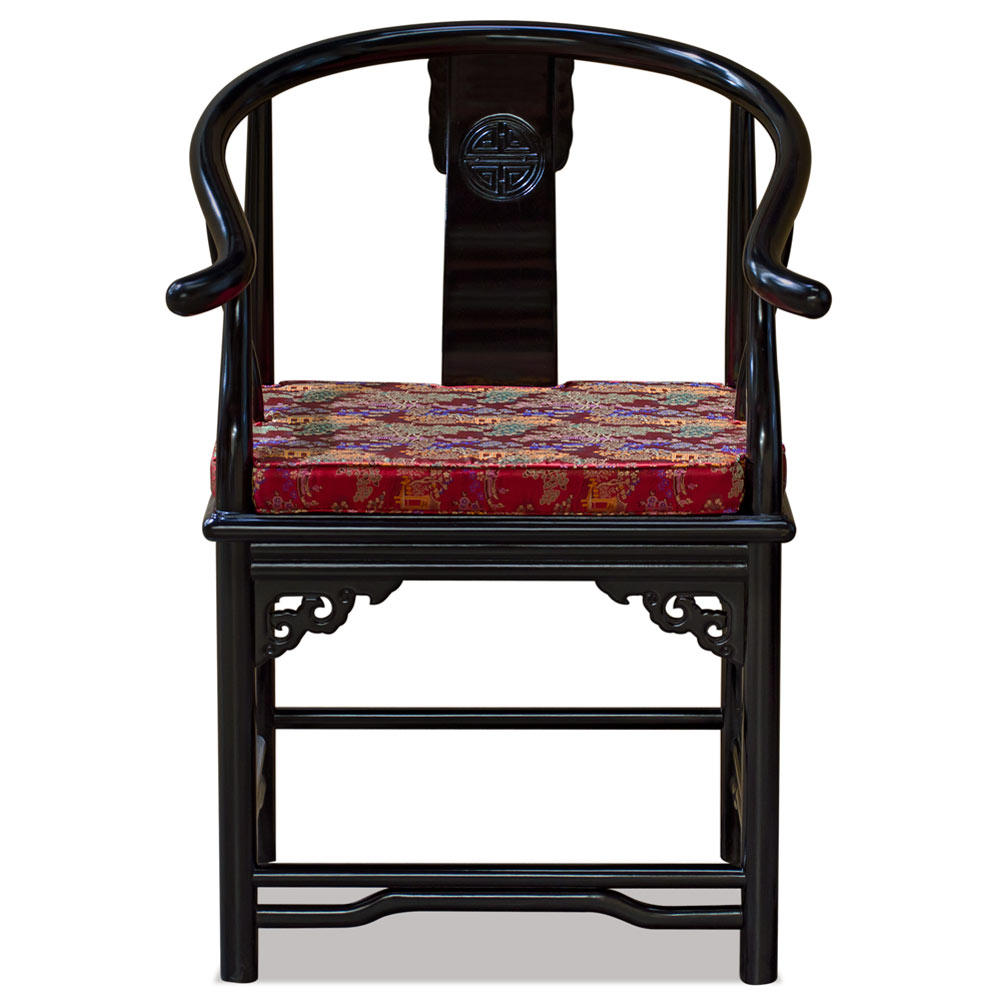 Black Finish Rosewood Ming Style Arm Chair