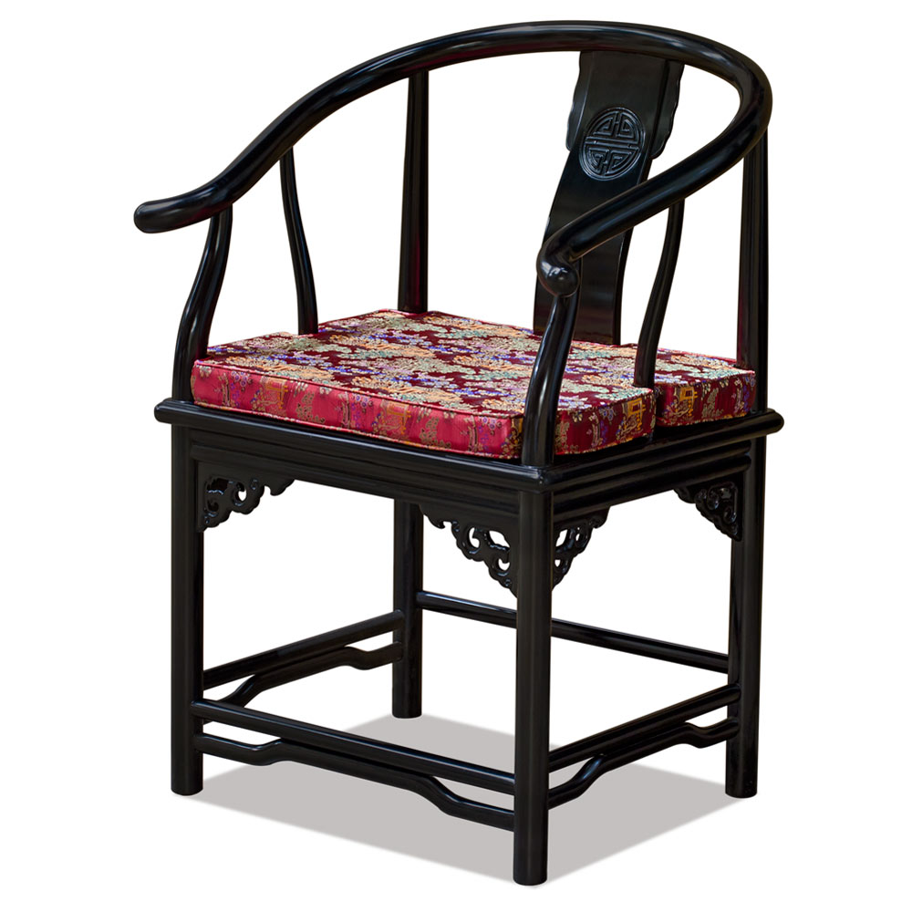 Black Finish Rosewood Ming Style Chinese Arm Chair