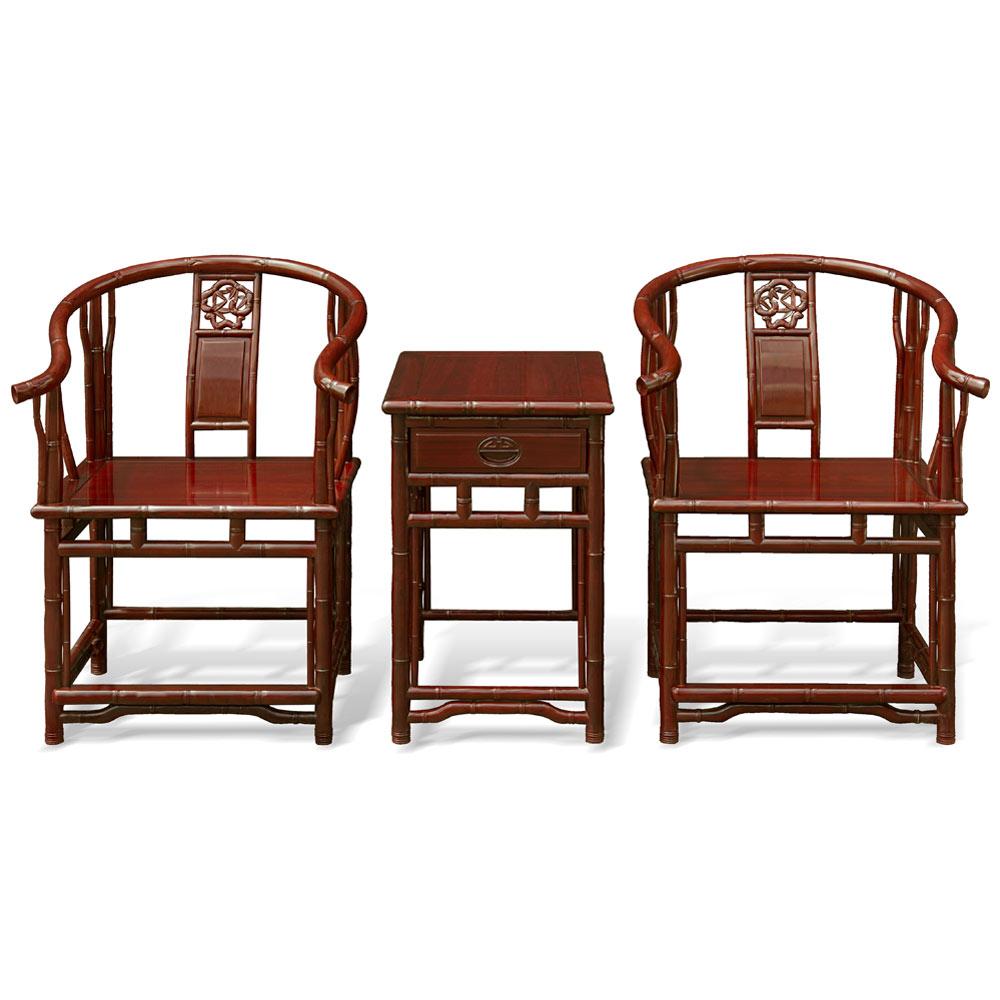 Red Sandal Bamboo Motif Tai Shi Chair Set