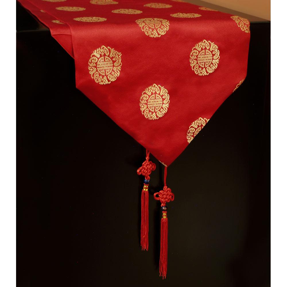 110 Inch Red Silk Chinese Longevity Table Runner