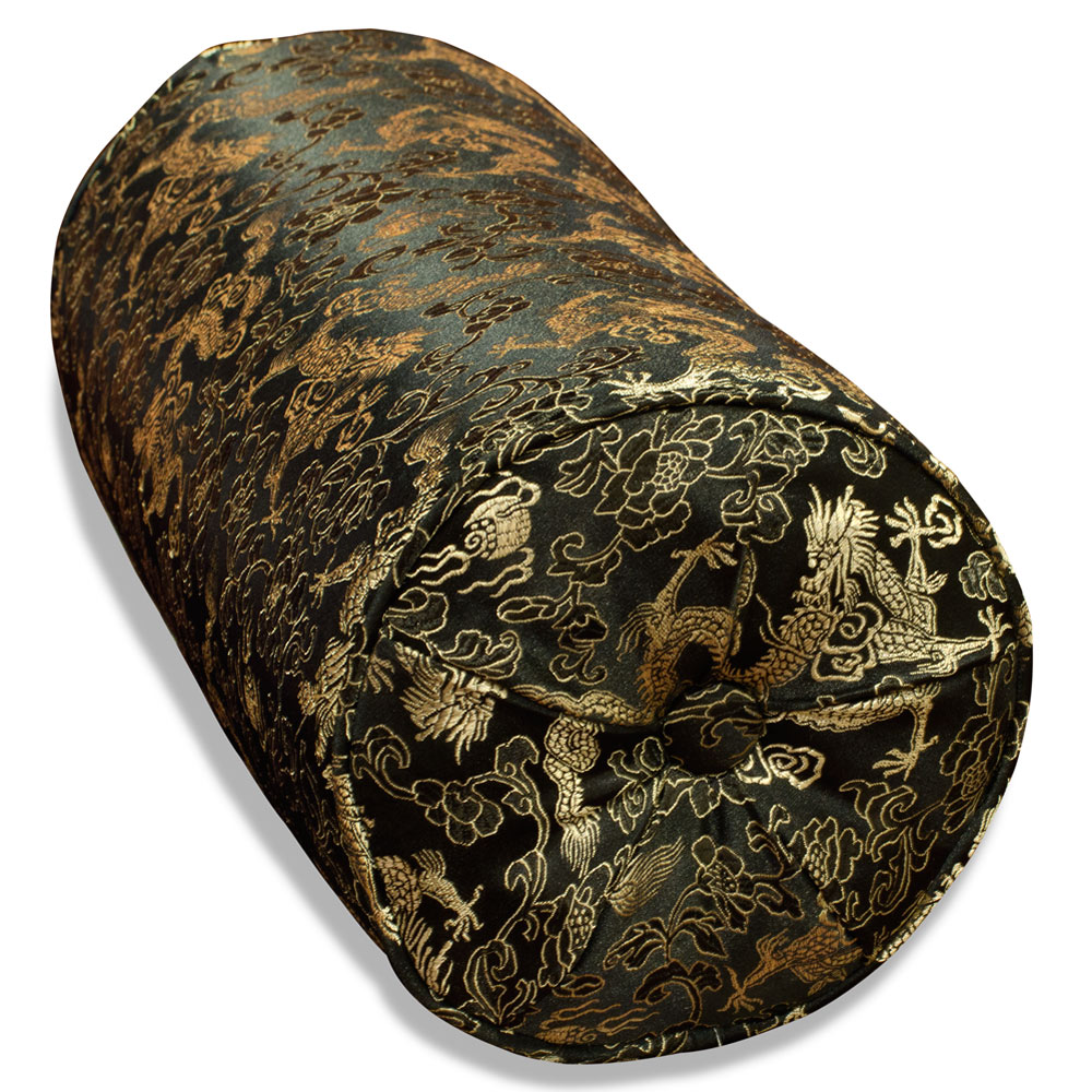 Black Silk Chinese Dragon Bolster Pillow