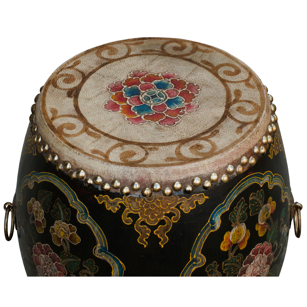 Black Floral Ceremonial Tibetan Drum