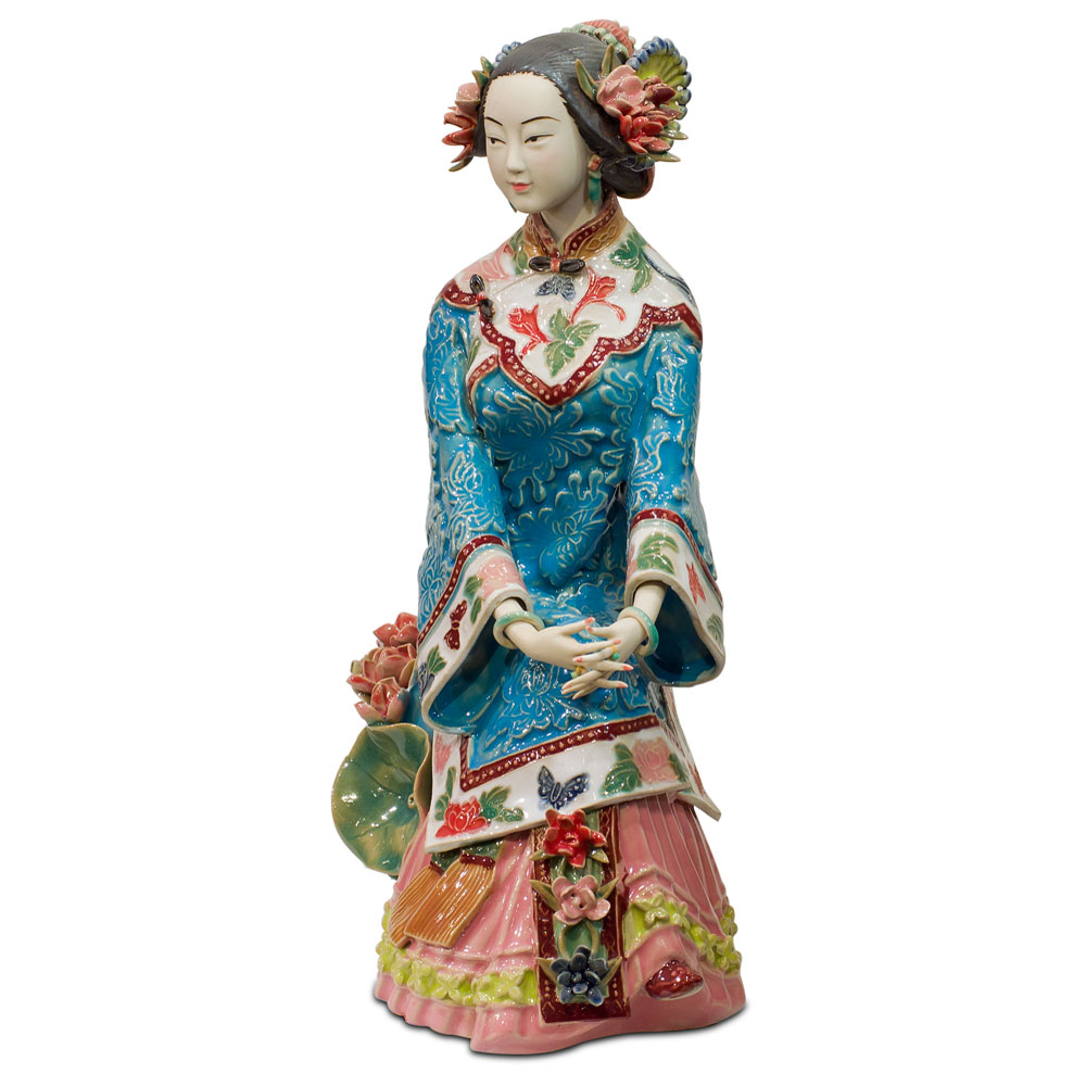 Chinese Porcelain Figurine, Lady with Summer Lotus