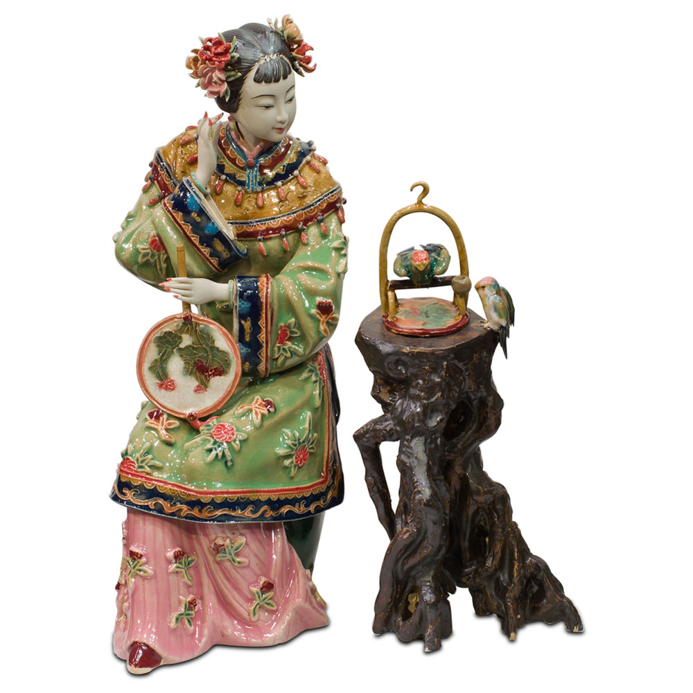 Chinese Porcelain Figurine, Lady with Bird Cage