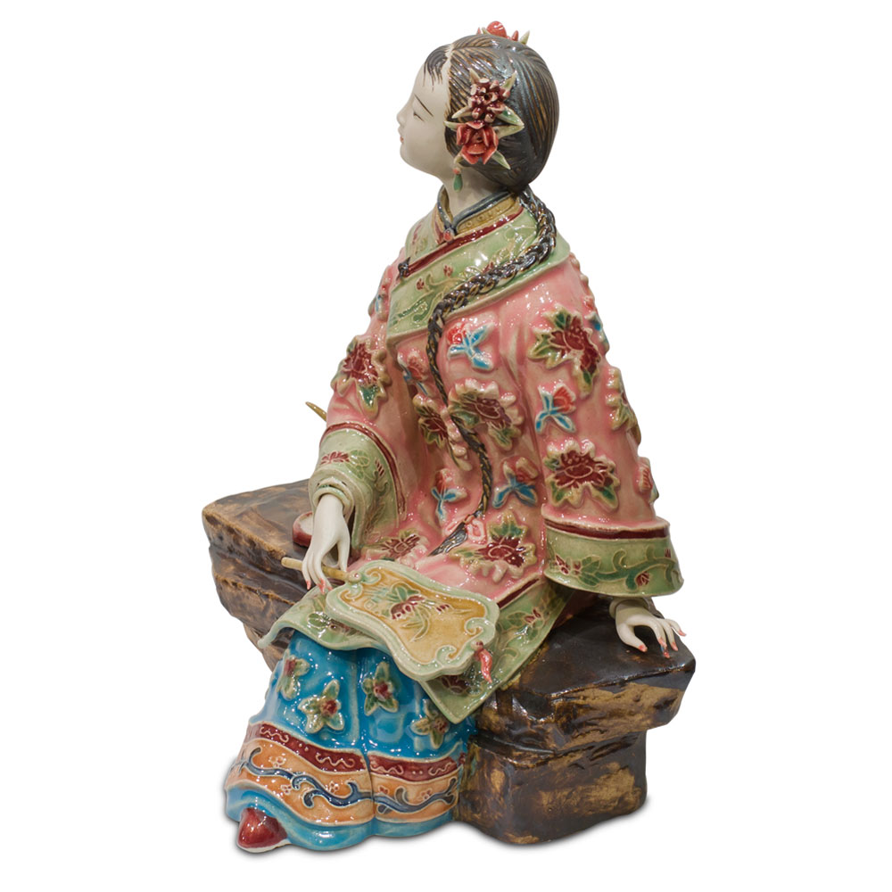 Chinese Porcelain Figurine, Shi Wan Lady in Pink