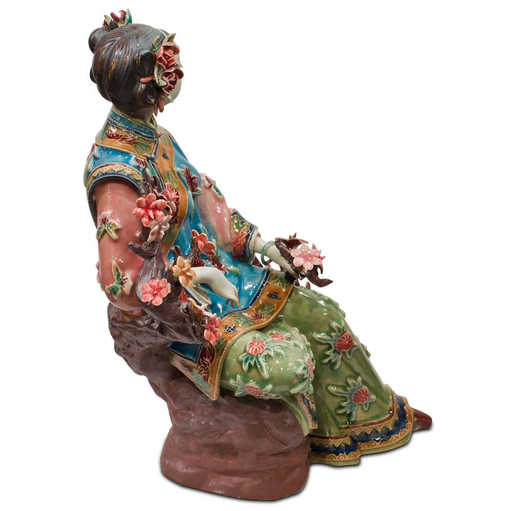 Chinese Porcelain Lady W/Cherry Blossom