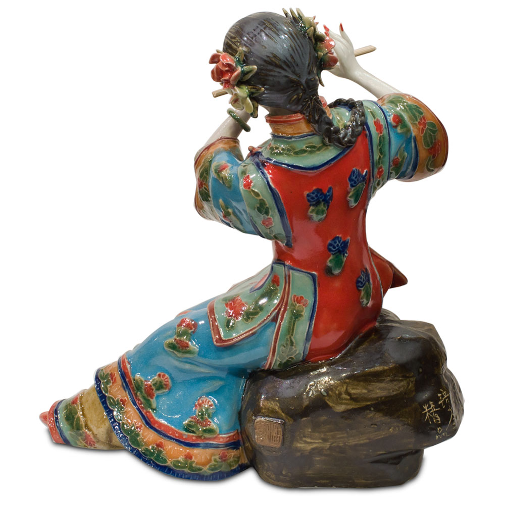 Chinese Porcelain Shi-Wan Doll Playing Flute