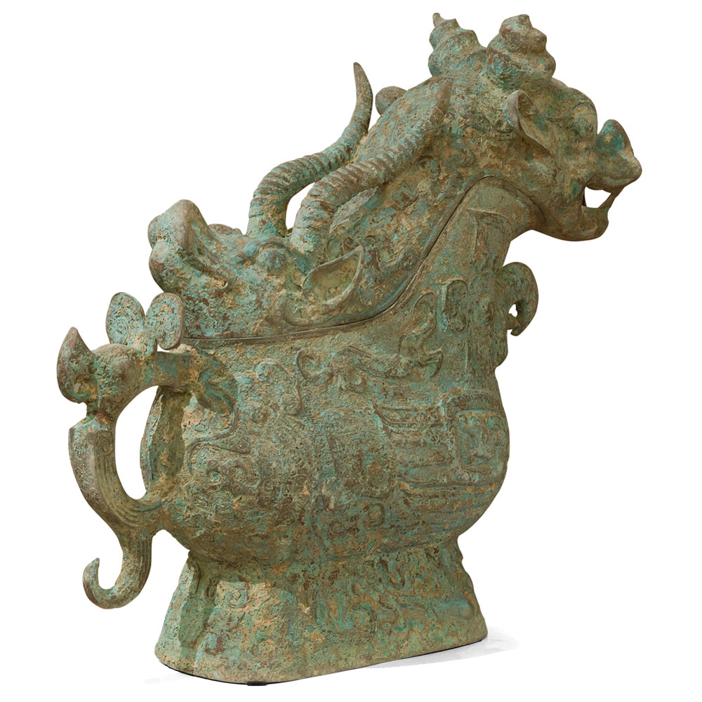 Bronze Patina Shang Dynasty Wine Vessel
