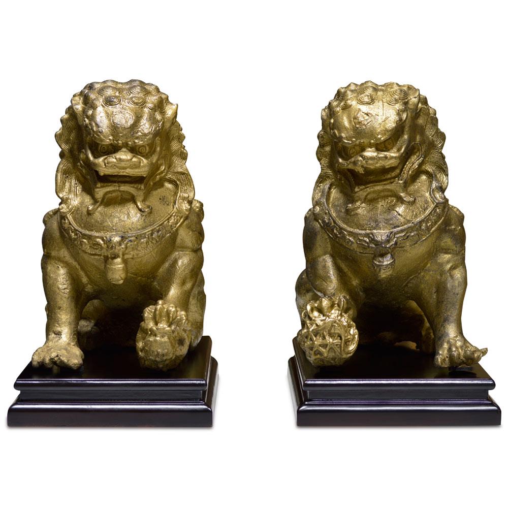 Chinese Temple Iron Foo Dog Set