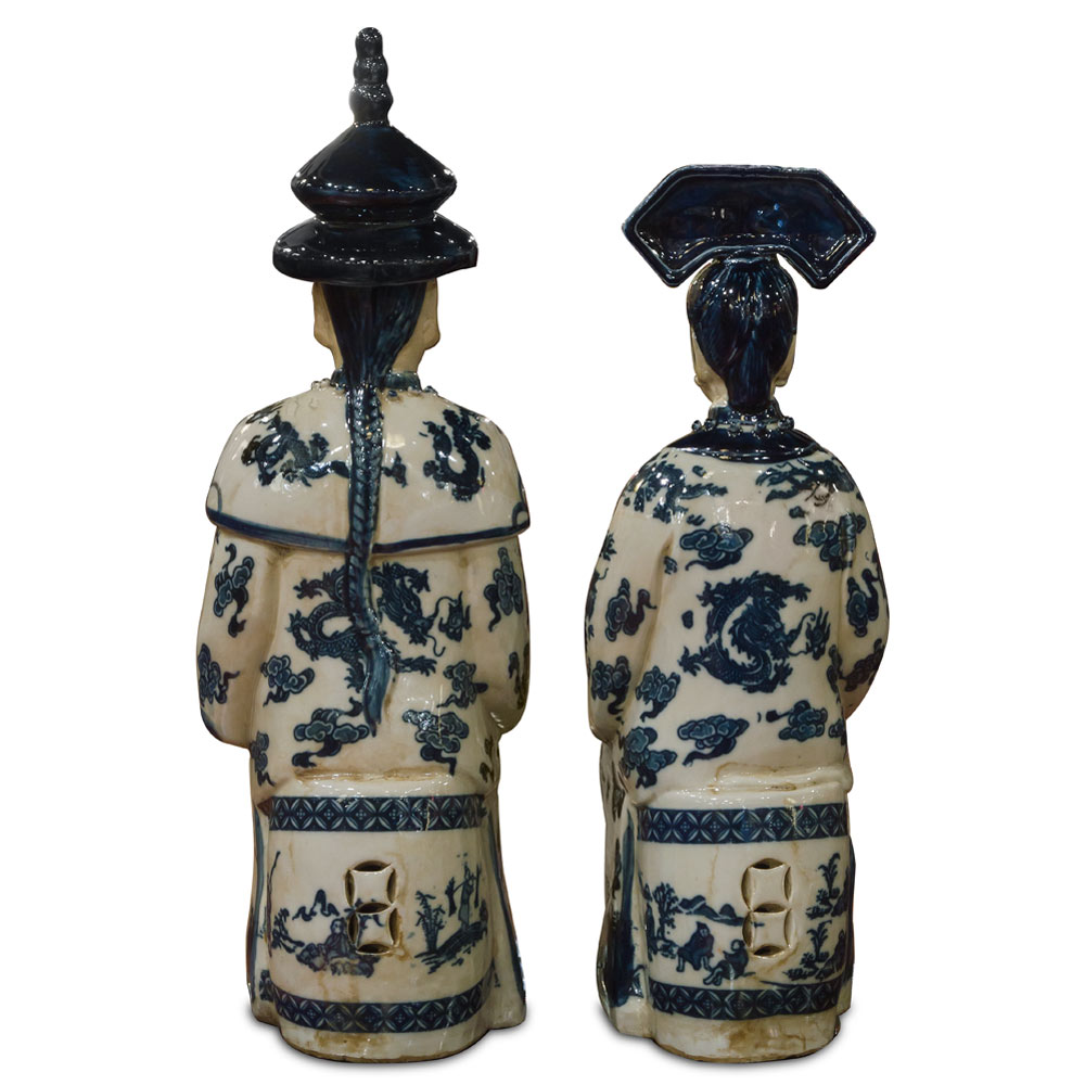 Blue and White Porcelain Qing Emperor and Empress Set
