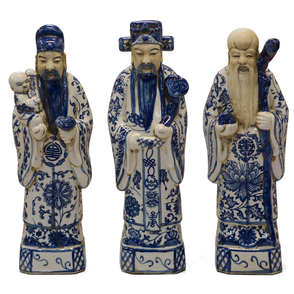 Blue & White Porcelain Three Lucky Gods