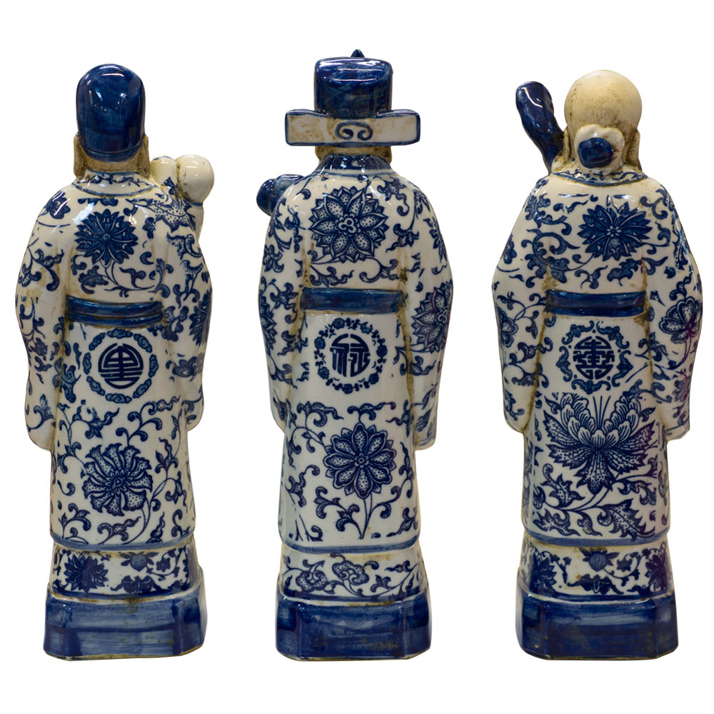Blue and White Porcelain Three Lucky Gods Set