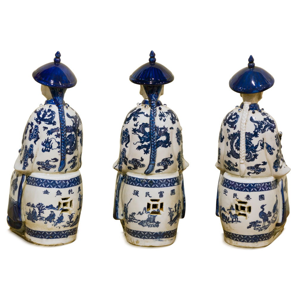 Blue and White Porcelain Sitting Qing Emperors Set