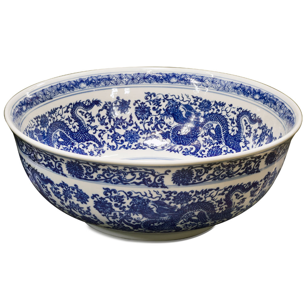 Blue and White Porcelain Dragon Motif Basin