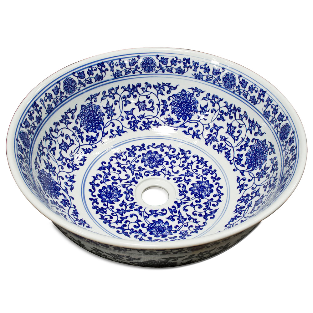 Blue and White Porcelain Floral Motif Basin