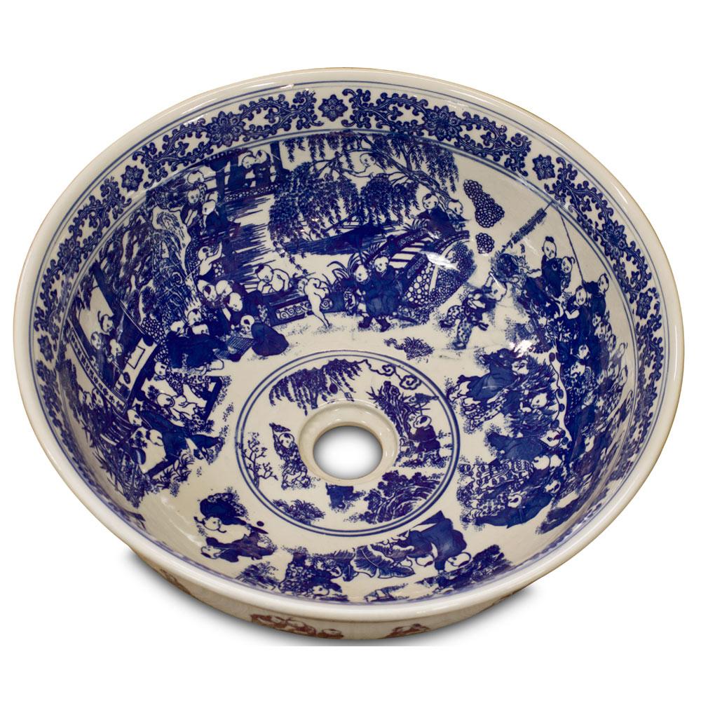 Blue and White Porcelain Schoolyard Scene Basin