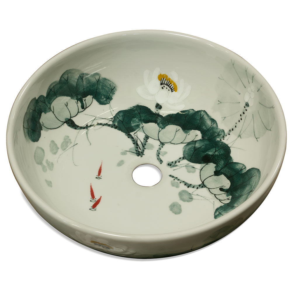 Porcelain basin with lotus koi pond design for Koi fish pond lotus