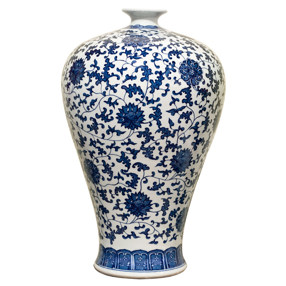 22 Inch Blue and White Chinese Porcelain Ming Vase